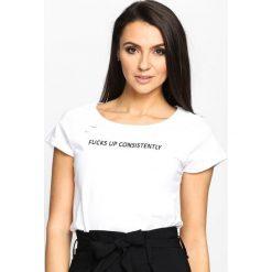 Biały T-shirt Forbidden. Białe bluzki z odkrytymi ramionami marki House, l. Za 44,99 zł.