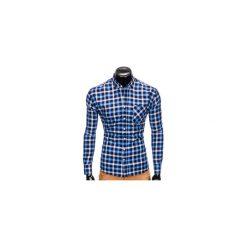KOSZULA MĘSKA W KRATĘ Z DŁUGIM RĘKAWEM K397 - GRANATOWY/NIEBIESKI. Niebieskie koszule męskie na spinki Ombre Clothing, m, z długim rękawem. Za 69,00 zł.
