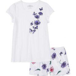 Piżama z krótkimi spodenkami bonprix biało-lila z nadrukiem. Fioletowe piżamy damskie marki bonprix, na lato, z nadrukiem, z krótkim rękawem. Za 44,99 zł.