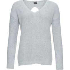 Sweter z wycięciem bonprix szary. Szare swetry klasyczne damskie marki Sinsay, l, z dekoltem na plecach. Za 99,99 zł.