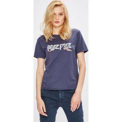 Pepe Jeans - Top Diana. Szare topy damskie Pepe Jeans, l, z aplikacjami, z bawełny, z okrągłym kołnierzem. W wyprzedaży za 119,90 zł.