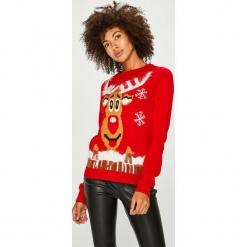Vero Moda - Sweter. Czerwone swetry klasyczne damskie Vero Moda, l, z nylonu, z okrągłym kołnierzem. Za 89,90 zł.
