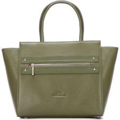 Torebka damska 87-4E-207-Z. Zielone shopper bag damskie Wittchen, w geometryczne wzory, z tłoczeniem. Za 499,00 zł.