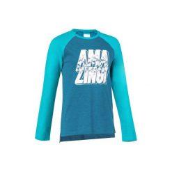Koszulka z długim rękawem Gym. Szare bluzki dziewczęce bawełniane marki DOMYOS, z kapturem. W wyprzedaży za 12,99 zł.