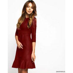 Sukienki: Sukienka Greta z falbaną Bordowa