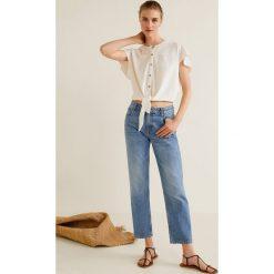 Mango - Koszula Made. Szare koszule damskie Mango, l, z bawełny, z krótkim rękawem. Za 89,90 zł.