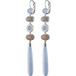 Kolczyki damskie: Kolczyki w kolorze srebrnym z kamieniami i kryształami