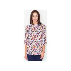 Koszula M504 Wzór 23. Szare koszule damskie marki FIGL, m, z bawełny, eleganckie, z asymetrycznym kołnierzem, z długim rękawem. Za 119,00 zł.