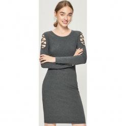 Sukienka z paskami na ramionach - Szary. Szare sukienki na komunię Sinsay, l, w paski. Za 39,99 zł.