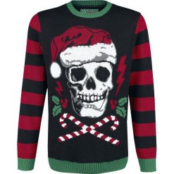 Ugly Christmas Sweater Totenkopf Sweter z dzianiny czarny. Czarne swetry klasyczne męskie Ugly Christmas Sweater, l, z dzianiny, z okrągłym kołnierzem. Za 184,90 zł.