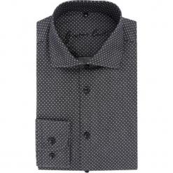 Koszula RICCARDO 15-07-04-K. Czarne koszule męskie na spinki Giacomo Conti, m, w grochy, z bawełny, z włoskim kołnierzykiem, z długim rękawem. Za 199,00 zł.