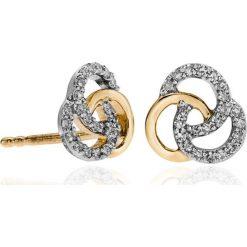 Kolczyki damskie: PROMOCJA Złote Kolczyki – złoto żółte 585, Diament 0,15ct