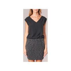 Sukienki krótkie Deeluxe  NELLY. Szare sukienki hiszpanki Deeluxe, l, z krótkim rękawem, mini. Za 175,20 zł.