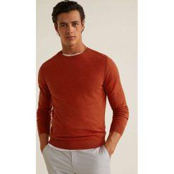 Mango Man - Sweter Ten. Brązowe swetry klasyczne męskie Mango Man, l, z bawełny, z okrągłym kołnierzem. Za 139,90 zł.