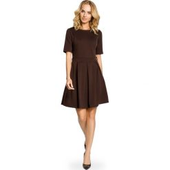 Sukienki: Brązowa Szeroka Sukienka z Rękawem do Łokcia