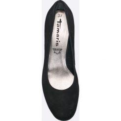 Tamaris - Czółenka. Czarne buty ślubne damskie marki Tamaris, z materiału, z okrągłym noskiem, na szpilce. W wyprzedaży za 199,90 zł.
