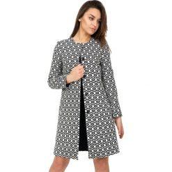 Płaszcze damskie pastelowe: Długi płaszcz we wzory z podszewką BIALCON
