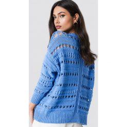 Swetry oversize damskie: MANGO Sweter ażurowy - Blue