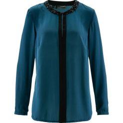 Tunika bonprix niebieskozielono-czarny. Niebieskie tuniki damskie bonprix, z okrągłym kołnierzem. Za 59,99 zł.