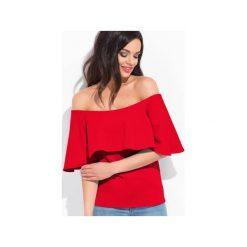 Bluzka spain czerwona. Czerwone bluzki damskie Cocoviu, l, z jeansu, biznesowe, z dekoltem typu hiszpanka. Za 70,00 zł.