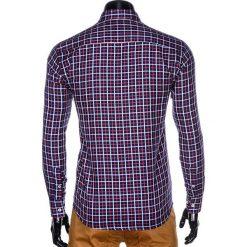 KOSZULA MĘSKA W KRATĘ Z DŁUGIM RĘKAWEM K429 - GRANATOWA/CZERWONA. Brązowe koszule męskie na spinki marki Ombre Clothing, m, z aplikacjami, z kontrastowym kołnierzykiem, z długim rękawem. Za 59,00 zł.