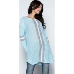 Tuniki damskie z długim rękawem: Błękitny Długi Sweter -Tunika z Kontrastowymi Paskami