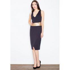 Odzież damska: Czarna Kobieca Sukienka Midi z Panelami z Eko-skóry