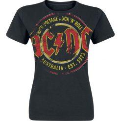 AC/DC High Voltage - Australia Est. 1973 Vintage Koszulka damska czarny. Czarne bluzki z odkrytymi ramionami AC/DC, m, z nadrukiem, klasyczne, z klasycznym kołnierzykiem. Za 62,90 zł.