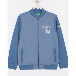 Bluza. Niebieskie bluzy chłopięce rozpinane BELIEVE IN TODAY, z aplikacjami, z bawełny, z długim rękawem, długie. Za 95,90 zł.
