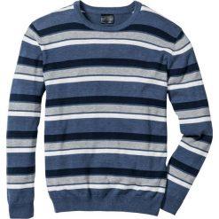 Swetry męskie: Sweter w paski Regular Fit bonprix niebieski w paski