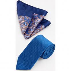 Krawat i poszetka - Granatowy. Niebieskie krawaty męskie Reserved. Za 59,99 zł.