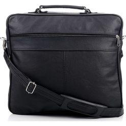 Czarna skórzana torba męska na ramię ABRUZZO MARTEL. Czarne torby na ramię męskie marki Abruzzo, ze skóry. Za 129,90 zł.