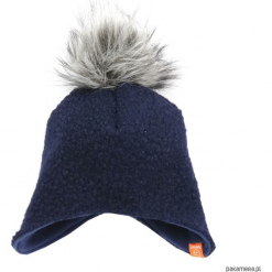 Czapka zimowa z pomponem - granat. Czarne czapeczki niemowlęce marki Pakamera, na zimę, z polaru. Za 79,00 zł.