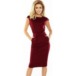 BRITA Sukienka midi z podwyższonym stanem - BORDOWA. Czerwone sukienki na komunię numoco, s, midi. Za 139,99 zł.