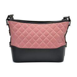 Torebki klasyczne damskie: Skórzana torebka w kolorze różowo-antracytowym – (S)22,5 x (W)34 x (G)8,5 cm