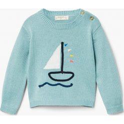Mango Kids - Sweter dziecięcy Barco 62-80 cm. Szare swetry dziewczęce Mango Kids, s, z bawełny, z okrągłym kołnierzem. Za 69,90 zł.