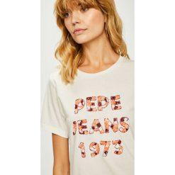Pepe Jeans - Top Marnie. Szare topy damskie Pepe Jeans, l, z aplikacjami, z bawełny, z okrągłym kołnierzem. Za 159,90 zł.