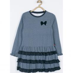 Sukienka. Niebieskie sukienki dziewczęce z falbanami HAPPY TIME, z aplikacjami, z bawełny, z długim rękawem, długie. Za 75,90 zł.