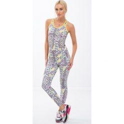 Kolorowe legginsy sportowe w geometryczne kształty / cytryna H0010. Szare legginsy we wzory marki Fasardi, l. Za 59,00 zł.