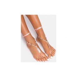 Bransoletki damskie na nogę: Różowa bransoletka na stopę Leaf