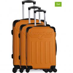 """Walizki (3 szt.) """"Harlem A"""" w kolorze pomarańczowym. Brązowe walizki American Travel, z materiału. W wyprzedaży za 434,95 zł."""