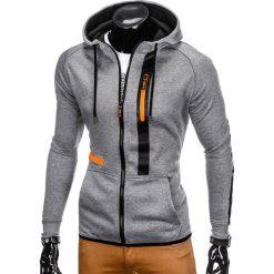 BLUZA MĘSKA ROZPINANA Z KAPTUREM B746 - SZARA. Szare bluzy męskie rozpinane Ombre Clothing, m, z bawełny, z kapturem. Za 49,00 zł.