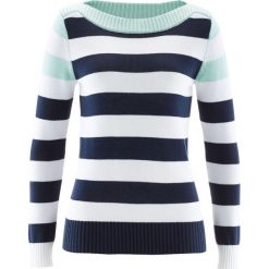 Swetry damskie: Sweter z dekoltem w łódkę bonprix jasny miętowy – ciemnoniebieski – biały w paski