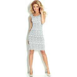 Villette Dopasowana sukienka - ecru + etniczne szare wzory. Szare sukienki balowe numoco, s, dopasowane. Za 149,99 zł.
