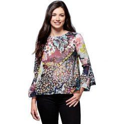 Bluzki asymetryczne: Bluzka z okrągłym dekoltem z kwiecistym wzorem, długi rękaw