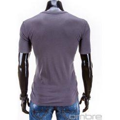 T-shirty męskie: T-SHIRT MĘSKI Z NADRUKIEM S558 – GRAFITOWY