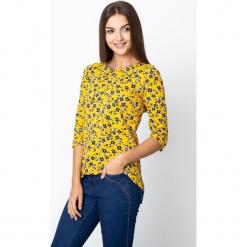 Żółta bluzka w czarne kwiaty QUIOSQUE. Czarne bluzki longsleeves marki QUIOSQUE, s, w kwiaty, z jeansu. W wyprzedaży za 59,99 zł.