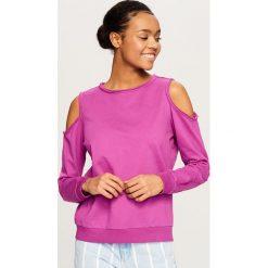 Bluzy damskie: Bluza z okrytymi ramionami – Fioletowy