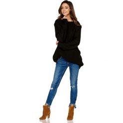 Czarny Luźny Dłuższy Sweter z Warkoczem i Łezką. Czerwone swetry klasyczne damskie marki Molly.pl, l, z jeansu, biznesowe, z dekoltem na plecach, z długim rękawem. Za 99,90 zł.