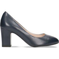 Czółenka LENA. Niebieskie buty ślubne damskie Gino Rossi, ze lnu, na wysokim obcasie, na słupku. Za 299,90 zł.